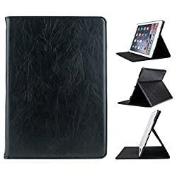 Bracevor Apple iPad Air 2 (iPad 6) Genuine Leather Stand Premium Smart Case Folio Book Cover - Deluxe Black