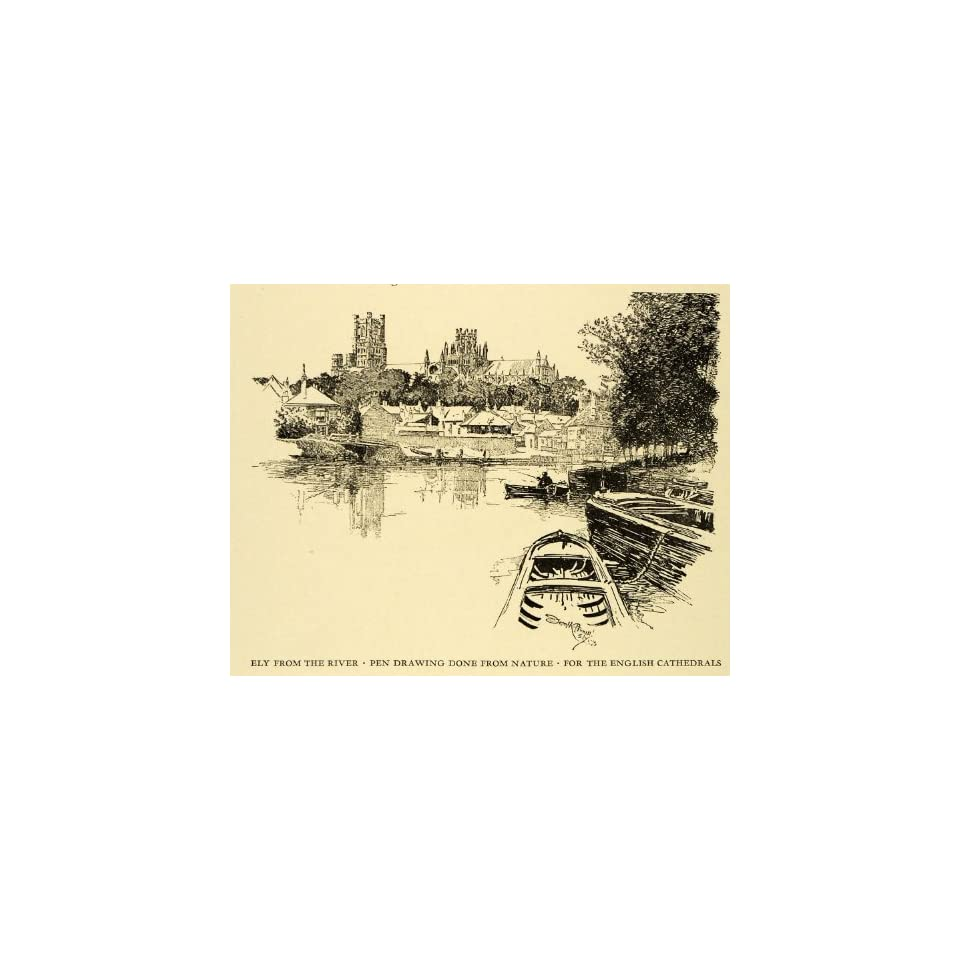 1925 Wood Engraving Ely River London England Joseph Pennell Cityscape Cathedral   Original Engraving
