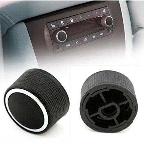 2 Rear Control Knobs Audio Radio Escalade Enclave Tahoe Chevrolet GMC Pair Set (Black) (Silverado Tuner Knob compare prices)