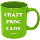 Funny Guy Mugs Crazy Frog Lady Ceramic Coffee Mug, Green, 11-Ounce