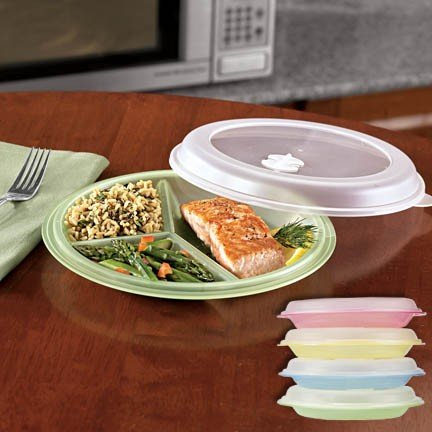 MICROWAVE DIVIDED PLATES WITH VENTED LIDS - (SET OF 4 IN ASSORTED COLORS) : plastic divided plates with lids - pezcame.com