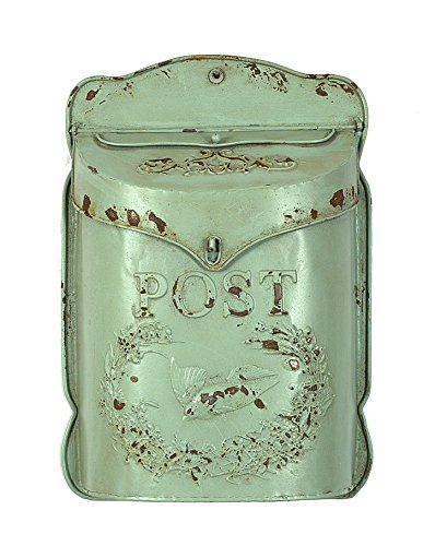 Creative Aqua Embossed Tin Letter Box (Vintage Mailbox Wall Mount compare prices)