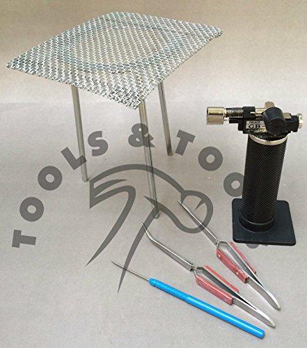 5-pezzi-saldatura-gas-butano-micro-torcia-treppiede-cavo-a-pinzette-in-alluminio-pick