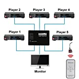 Itinlu High Quality Mini IR Remote 5 Port HDMI Switch Switcher HDMI Splitter for HDTV 1080P Vedio 3D Video Audio Auto Switching HDCP 5 In 1 Out 5 Input 1 Output