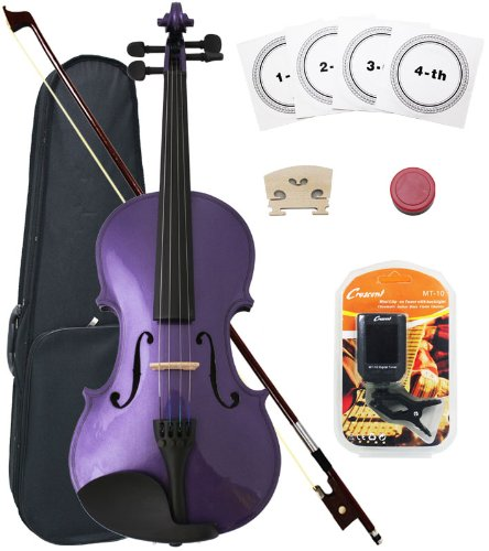 Crescent 3/4 Size Student Violin Starter Kit, Purple Color (Includes CrescentTM Digital E-Tuner)