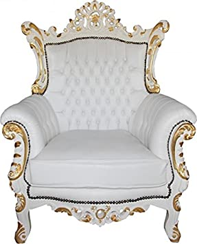 Casa Padrino Baroque armchair Al Capone White / Gold Mod2 - Limited Edition