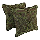 Blazing Needles Double-Corded Square Patterned Jacquard Chenille Throw Pillows with Inserts (Set of 2), 18