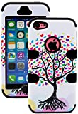 myLife Jet Black + Colorful Tree of Hearts 3 Layer (Hybrid Flex Gel) Grip Case for New Apple iPhone 5C Touch Phone (External 2 Piece Full Body Defender Armor Rubberized Shell + Internal Gel Fit Silicone Flex Protector)
