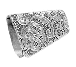 Edelweiss Vintage Lace Front Party Clutch 10-inch with Strap (Gray)