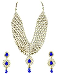 Bridal Jewellery Set Blue Colored Seven Line Drop Shaped Reverse AD Necklace Set