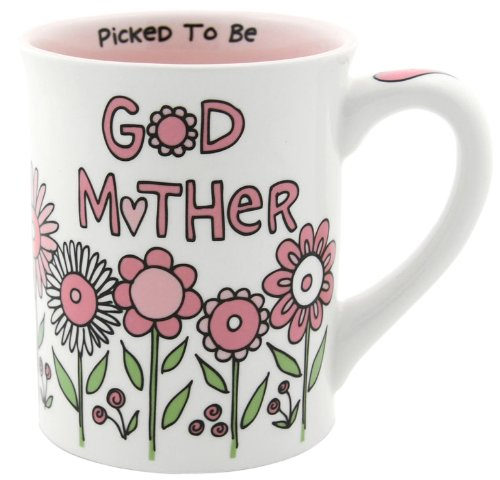 Enesco 4028044 Our Name Is Mud By Lorrie Veasey God Mother 16-Ounce Mug, 4-1/2-Inch front-387559
