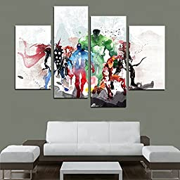NAN Wind 4 Panel Wall Art Painting Chinese Ink Painting Style Of Painting Into The Avengers Watercolor Painting Prints On Canvas For Home Modern Decoration Print Decor