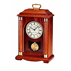 Seiko Mantel Chime with Pendulum Carriage Clock Dark Brown Solid Oak Case Metal Accents