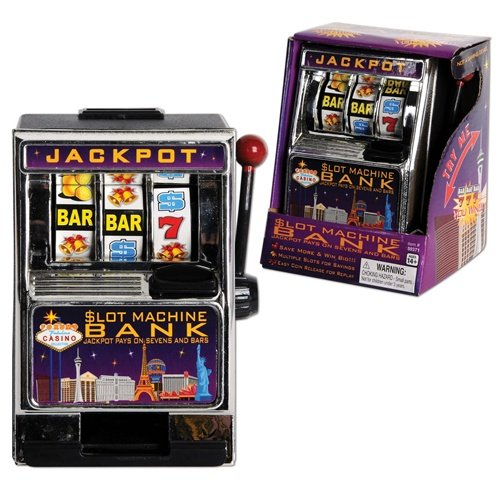 Slot Machine Coin Bank - Working Casino Toy Money Jar With Plastic Currency