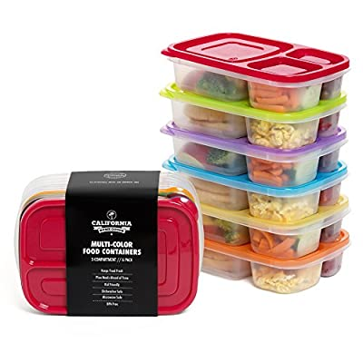 California Home Goods 3 Compartment Reusable Food Storage Containers for Kids and Adults, Microwave, Dishwasher Safe, Multi-Colored, Set of 6
