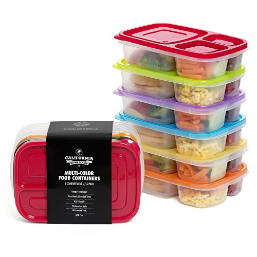 California-Home-Goods-3-Compartment-Reusable-Food-Storage-Containers-for-Kids-and-Adults-Microwave-Dishwasher-Safe-Multi-Colored-Set-of-6