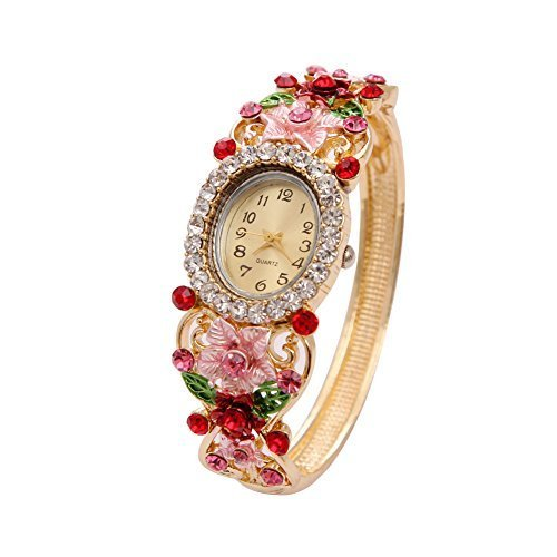 Colorful Crystal Flower Leaves Wrap Watches Ladies Bracelet Wristwatch