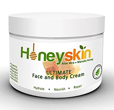 Organic Dry Skin Repair Cream - Natural Facial Moisturizer - For Rosacea, Eczema,Psoriasis, Rashes, Itchiness, Redness with raw Superfoods: Manuka Honey, Aloe Vera, Cocoa Butter, Coconut Oil, Shea Butter, and MSM (8oz)