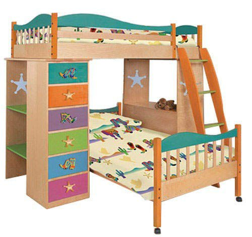 Room Magic Boot Stompin Cowboys Loft Bed with Free Twin Bed