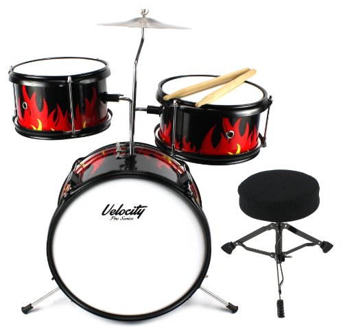 Velocity Pro Series Flaming Red 5 Piece Drum Set W/ Wooden Shells, Metal Rims And Hardware, Bass, Snare, & Tom Drums, Cymbal, Stool