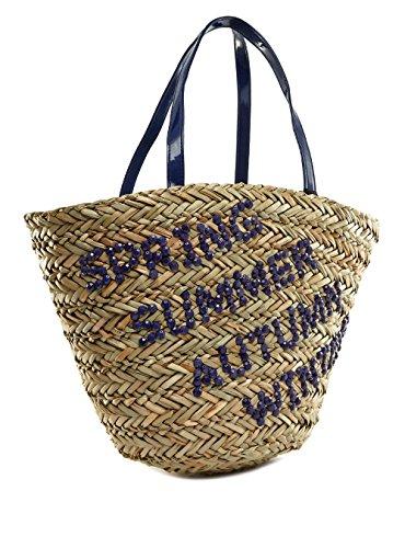 Life & Style Borsa Donna cestino borsa spiaggia borsa da spiaggia Shopper paglia borsa a spalla chic Pretty 123-4K blu Blue Women, Blu (blu), One Size