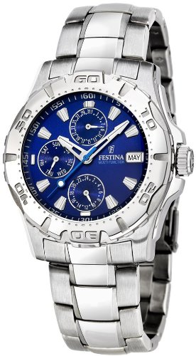 Festina 6001 - Reloj para hombres, correa de acero inoxidable color plateado