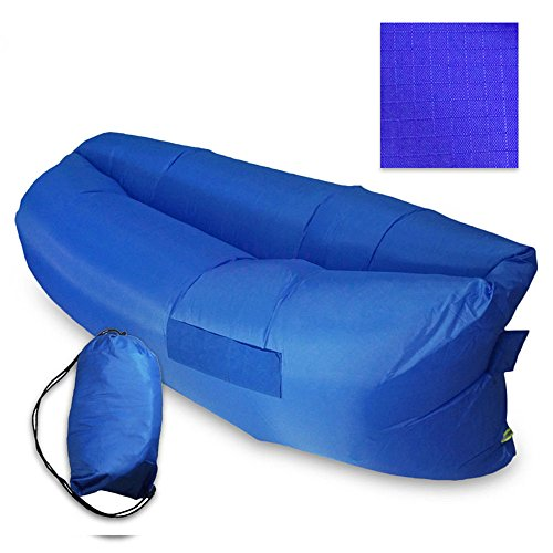 LazyLife-Inflatable-Outdoor-Air-Sleep-Sofa-Couch-Portable-Banana-Sleeping-Bag-Lazy-Bed-Hangout-Lounger-for-Camping-Beach-Seaside-Meadow-Party-Nylon-Fabric-with-Side-Pockets
