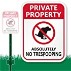 SmartSign Aluminum Sign, Legend Private Property - Absolutely No Trespooping with Graphic, 12 high x 9 wide sign plus 3' tall stake, Black/Red on White