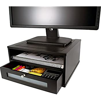 Victor Midnight Black Collection 1175-5 Wood Monitor Stand/Riser