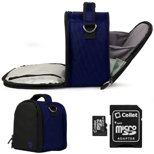 BLUE Laurel Lightweight Camera Bag Case For Casio EXILIM TRYX Point and Shoot Digital Camera 16GB Micro SD Card with SD Adaptor (Blue Light Reducer compare prices)