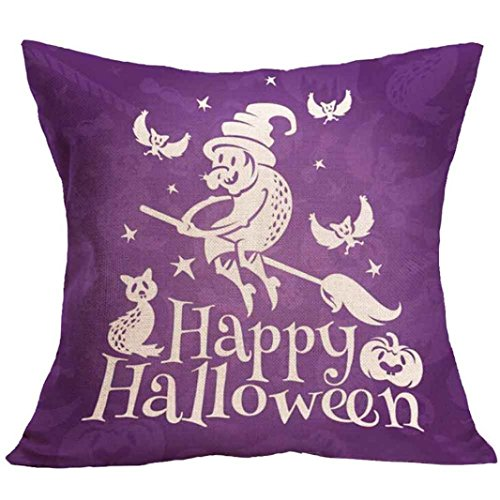 Hatop Halloween Square Pillow Cover Cushion Case Pillowcase Zipper Closure (B)