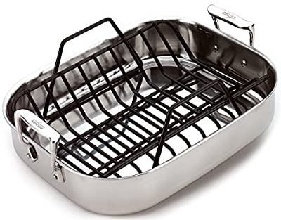 All-Clad 5014 Stainless Steel Petite Roti Roasting Pan Cookware, 14-Inch by 11-Inch, Silver