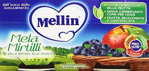 Mellin - Mela Mirtilli, Omogeneizzato per l'Infanzia, Pacco da  2X100 g, totale: 200 g