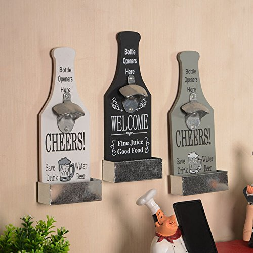 Creative American Country Wall Bottle Opener Vintage Retro Beer Shaped Wall Mounted Bottle Openers Cap Catcher Home Decor (white) 2