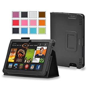 Maxboost Amazon Kindle Fire HDX 8.9 Case Book Foilo Leather Stand Cover Case [Black] - Premium Slim Protective Leather Case Slim Builds with Multi-Angle Stand, Stylus Holder, and Hand Holding Strap - Compatible to Amazon Kindle Fire HDX 8.9 inches (2013 Release)