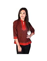 Jaipur RagaEthnic Orange-yellow Block Print Cotton Kurti Red-Black Girls Kurti