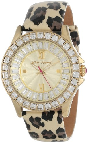 Betsey Johnson Women's BJ00004-02 Analog Leopard Printed Strap Watch