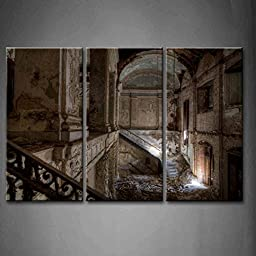 Modern Home Decoration painting 3 Panel Wall Art Old Ancient School Hallway Pictures Print On Canvas Architecture The Picture piece