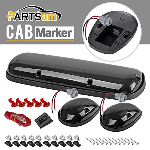 Partsam 3xSmoke Lens Cab Roof Top Marker Light Lens+Base Housing +Wiring Pack for 2002-07 Chevy/GMC (06 Gmc Sierra Cab Roof Lights compare prices)