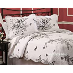 1 country meadow black u0026 white toile quilt set