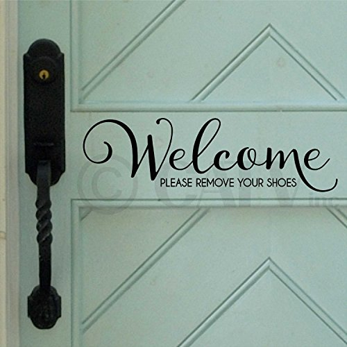 Welcome..please remove your shoes vinyl wall decal (Black) (Remove Your Shoes Sticker compare prices)