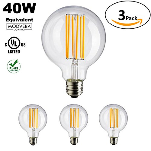 3 pack - Modvera G25 LED Light Bulb Decorative Bathroom Lighting Globe Light Bulb 40 Watt Equivalent Uses Only 4 Watts Clear Glass (40 Watt Bathroom Lightbulbs compare prices)