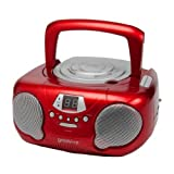 Groov-e GVPS713RD Boombox Portable CD Player with Radio - Red