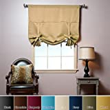 "Best Home Fashion Gold Tie-Up Shade Solid Insulated Thermal Blackout Window Shade 42""W x 63""L - 1 Panel"
