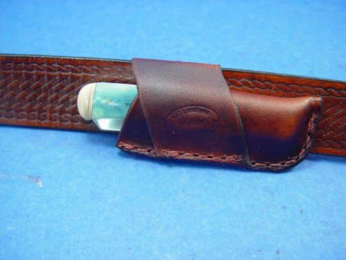 """Custom Leather Knife Sheath. Cross Draw For A 4"""" Trapper Knife. Made Out Of 4 Oz Veg Tanned Leather. Knife Not For Sale!"""