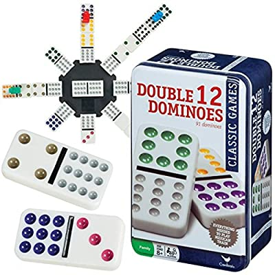 Cardinal 91 Double 12 Color Dot Dominoes in Tin (Styles May Vary) by Cardinal Industries
