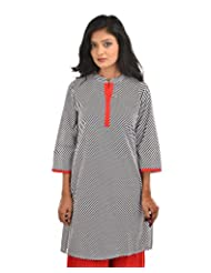 Fashiana Women's Cotton Straight Kurti (FKRT012 , Black & White , M)