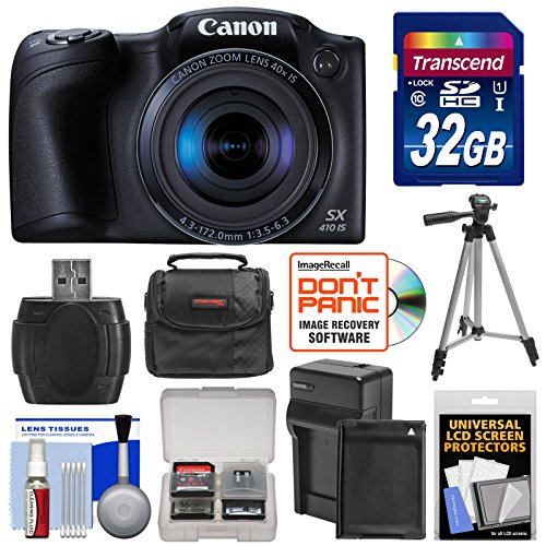 Canon PowerShot SX410 IS Digital Camera (Black) with 32GB Card + Battery & Charger + Case + Tripod + Kit (Canon Sx 50 compare prices)