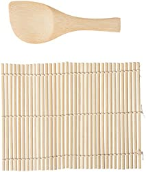 Helen Chen Asian Kitchen Traditional Bamboo Sushi Mat and Wide Paddle