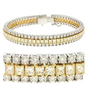 18k Two-Tone 13.11 Ct Rough Diamond Bracelet - JewelryWeb